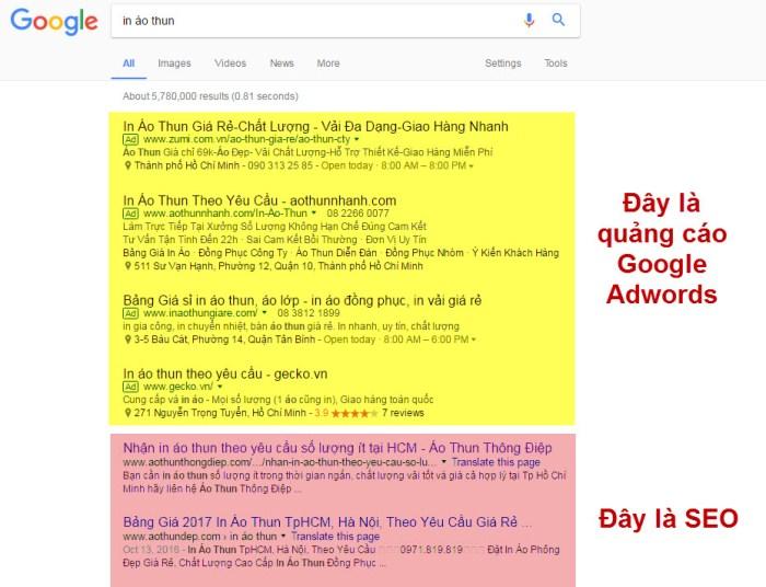 Sự khác biệt về vị trí của SEO và Google Ads